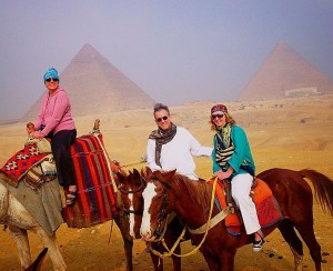 Natasha, Robert and Nastiya on our way to the Pyramids!